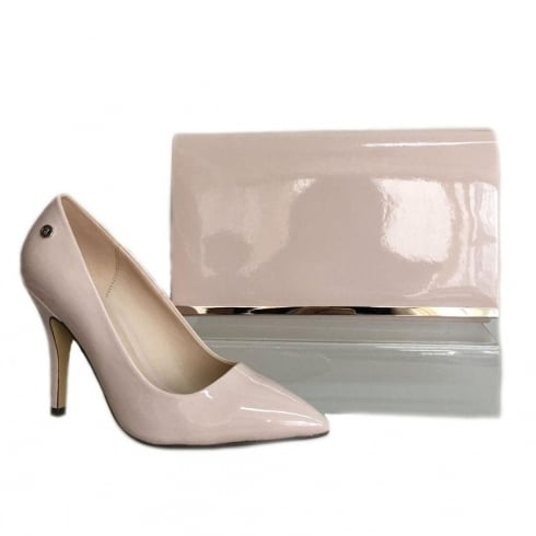 Glamour Nude Patent Pointed Toe Court Shoe