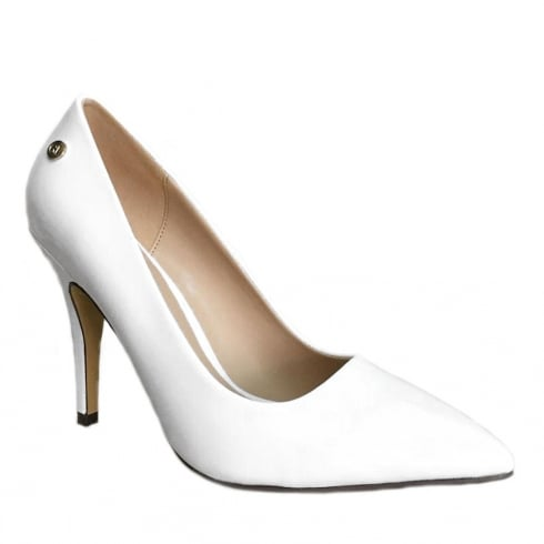 Glamour White Patent Pointed Toe Court Shoe