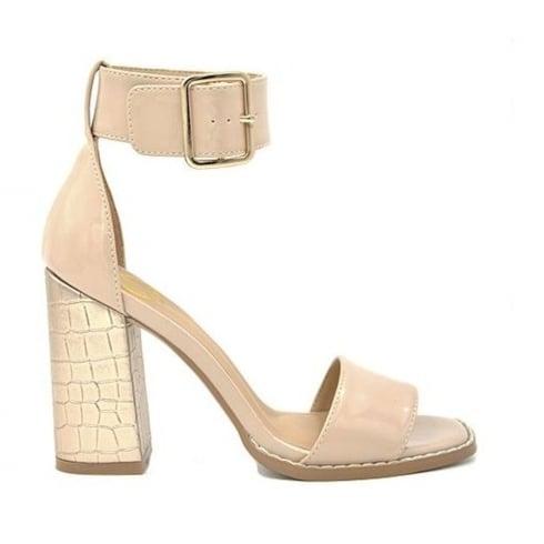 Millie & Co Nude/Beige Block Heeled Sandals