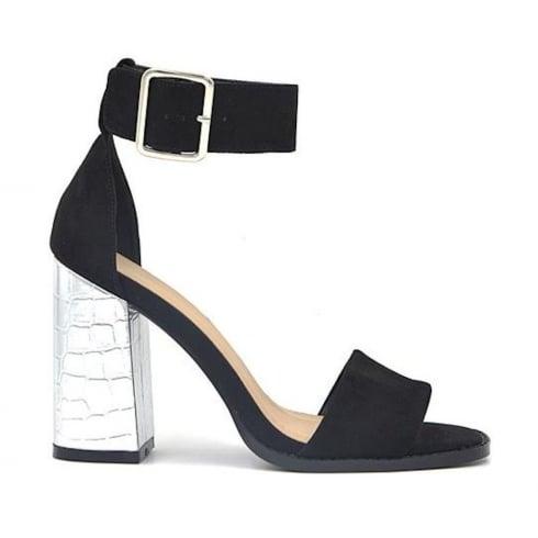 Millie & Co Black Suede Block Heeled Sandals