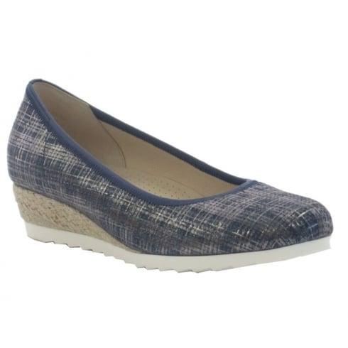 Gabor Epworth Blue Metallic Jeans Wedge Shoe