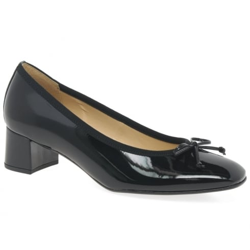 Gabor Belfast Black Block Heeled Patent Pumps