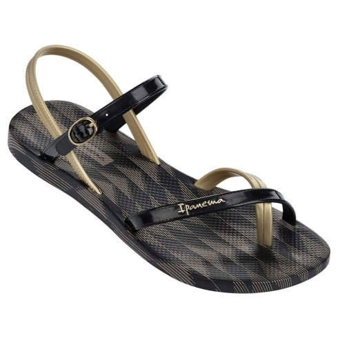 Ipanema Diamond V Black/Gold Womens Flat Sandals