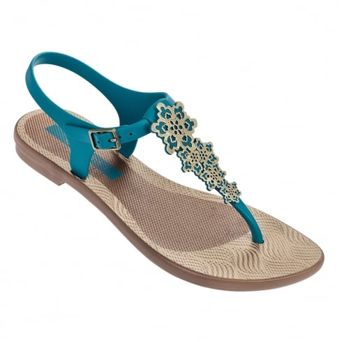 Grendha Romantic II Womens Flat Toe Post Turqouise Sandals