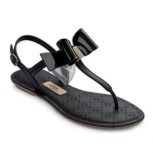 Grendha Sense Bow Womens Black T-Strap Sandals