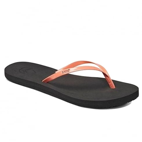 Reef Womens Bliss Black/Coral Flip Flops Sandals