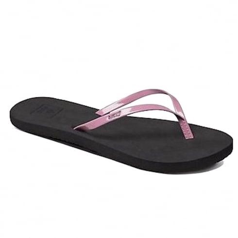 Reef Womens Bliss Black/Mauve Flip Flops Sandals