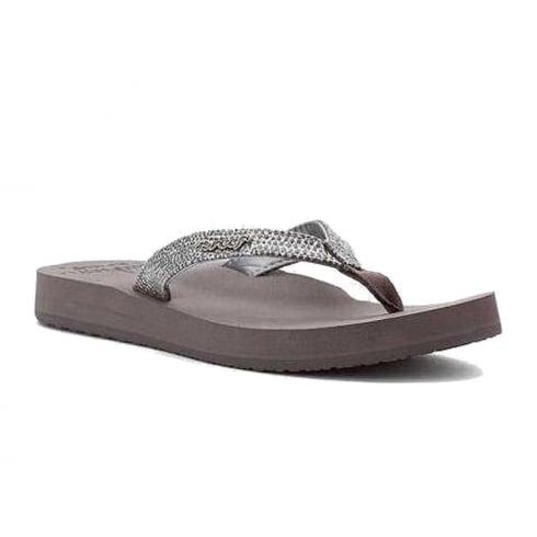 Reef Womens Star Cushion Sassy Silver Flip Flops Sandals