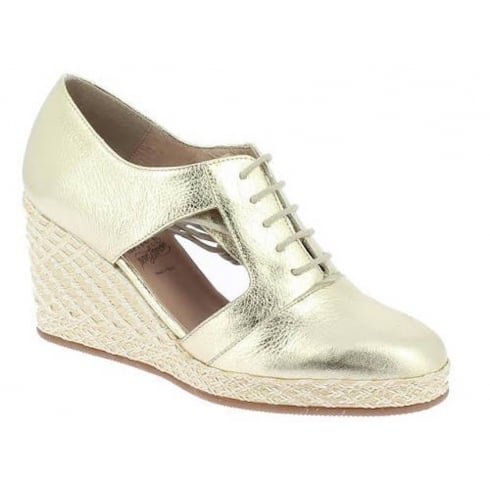 Wonders Metallic Wedge Lace Up Shoes - Gold - M-2115