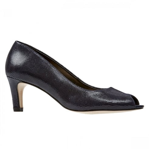 Van Dal Shoes Van Dal Norton Midnight Reptile Print Navy Court Heels