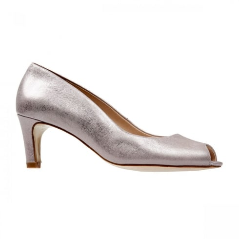 Van Dal Shoes Van Dal Norton Bamboo Metallic Peep Toe Court Heels
