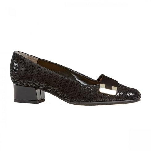 Van Dal Shoes Van Dal Duchess Black Chevron Print / Suede Flats