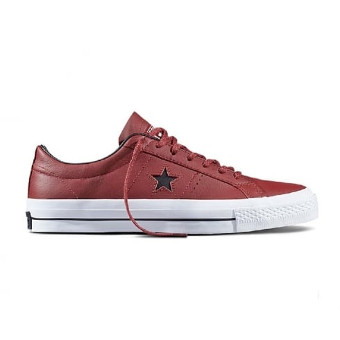 Converse Mens One Star Ox Burgundy Leather Trainers
