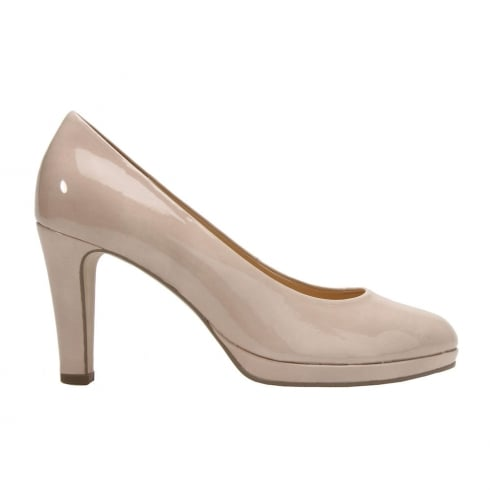 Gabor Splendid Beige Sand Patent Court Shoes