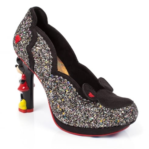 Irregular Choice Disney Minnie Mouse Black Glitter