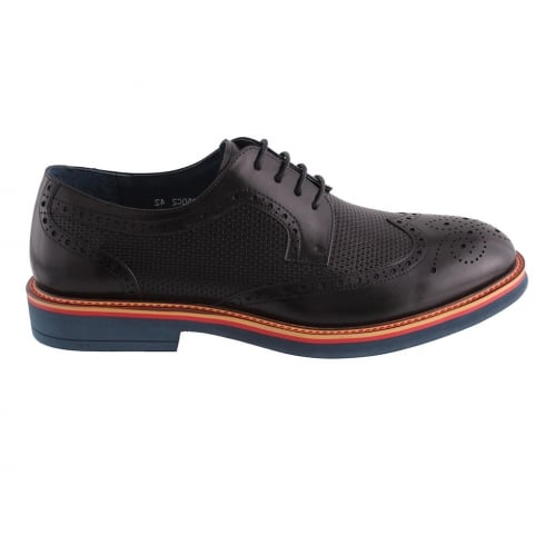 Morgan & Co Morgan&Co Black Leather Brogue Mens Lace Up Shoes