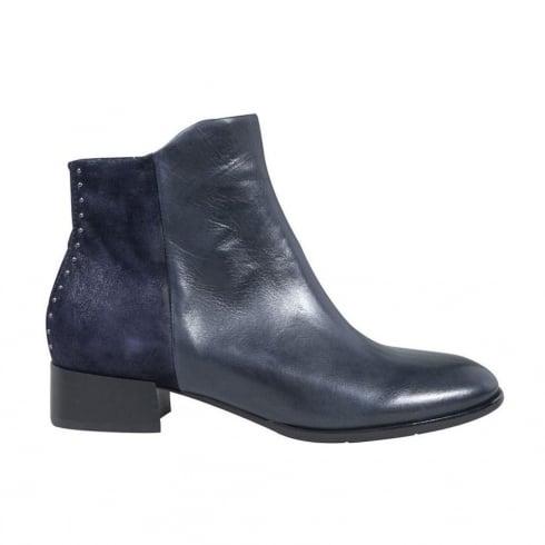 Regarde Le Ciel Womens Blue Leather Cristion Ankle Boots
