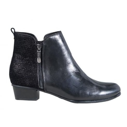 Regarde Le Ciel Womens Black Leather Stefany Ankle Boots