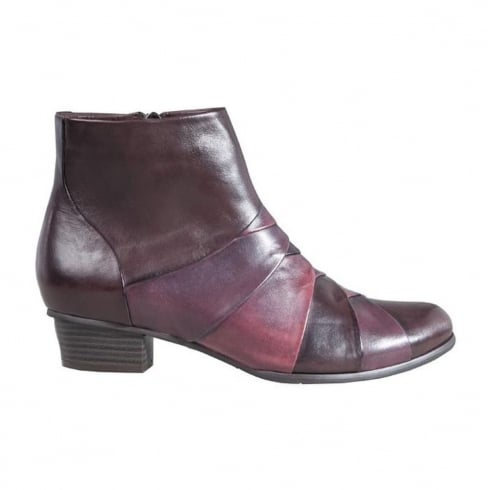 Regarde Le Ciel Womens Burgundy/Brown Leather Stefany Ankle Boots