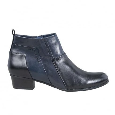 Regarde Le Ciel Womens Blue/Black Leather Stefany Ankle Boots