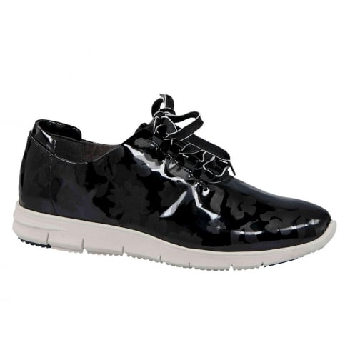 Caprice Black Patent Leather Laced Womens Flat Shoes