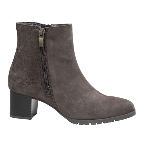 Caprice Brown Comb Leather Block Heel Ankle Boots