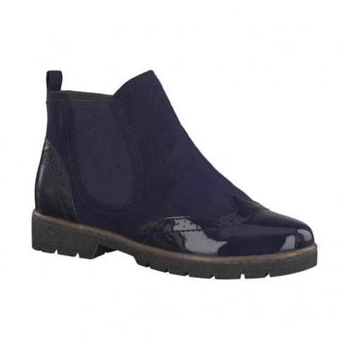 Soft Line Womens Navy Suede Ankle Flat Boots
