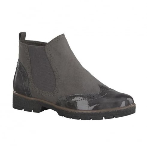 Soft Line Womens Graphite Suede Ankle Flat Boots