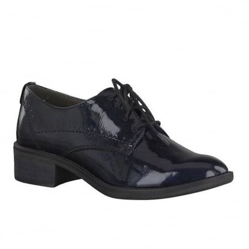 Soft Line Womens Navy Patent Brogue Shoes