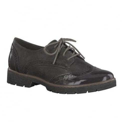 Soft Line Womens Graphite Patent Derby Lace Up Shoes