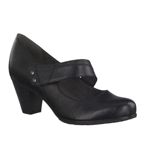 Soft Line Womens Heeled Black Velcro Court Pumps