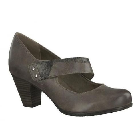 Soft Line Womens Heeled Taupe Velcro Court Pumps