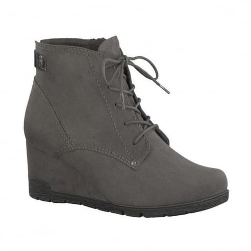 Soft Line Womens Graphite Suede Ankle Wedge Boots