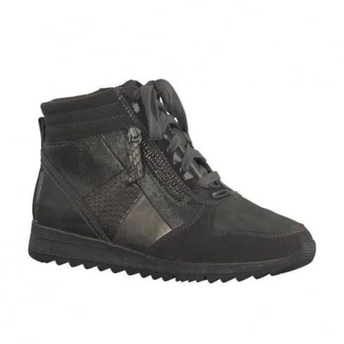 Soft Line Womens Asphalt Suede Ankle Lace Up Boots