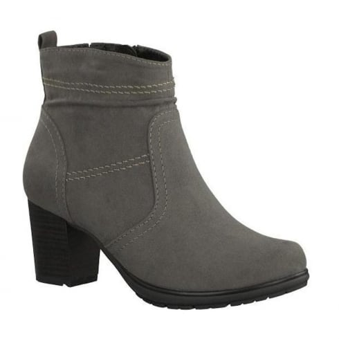 Soft Line Womens Graphite Suede Ankle Block Heeled Boots