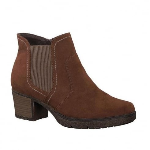 Soft Line Womens Mocca Suede Block Heeled Ankle Boots