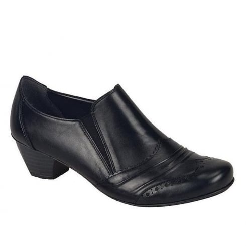 Rieker Womens Black Cristallin Casual Slip-On Heeled Shoes