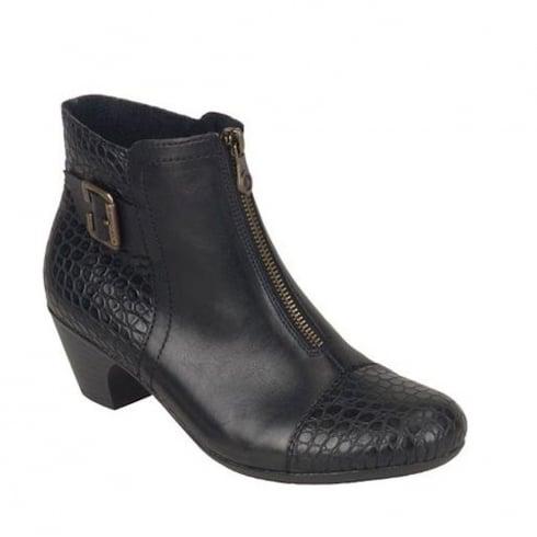 Rieker Womens Black Kiama Casual Heeled Ankle Boots