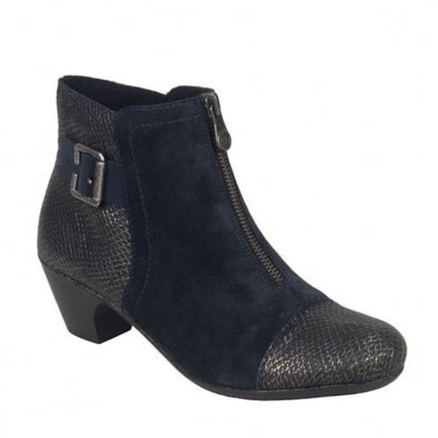 Rieker Womens Navy Suede Casual Heeled Ankle Boots