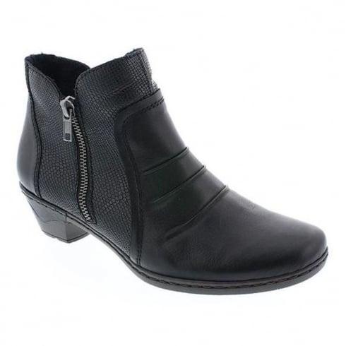 Rieker Womens Black Lugano Casual Heeled Boots