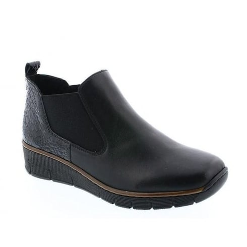Rieker Womens Black Lugano Casual Low Wedged Boots