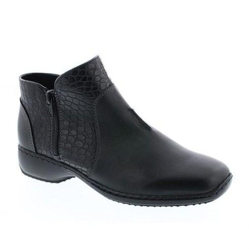 Rieker Womens Black Cristallin Casual Flat Boots