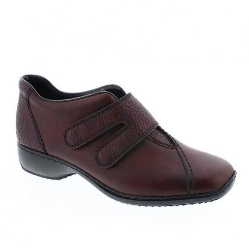 Rieker Womens Burgundy Christalli Casual Velcro Shoes