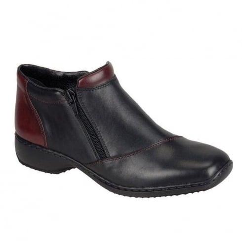 Rieker Womens Black/Burgundy Cristallin Casual Flat Boots