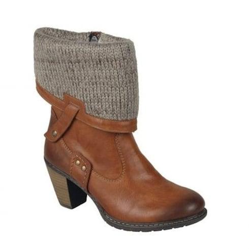 Rieker Womens Tan Knitted Mid Cuff Boots