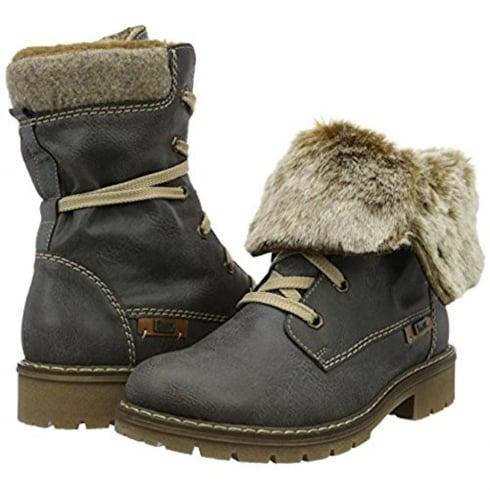 Rieker Womens Basalt Baltimore Lace Up Fur Cuff Boots