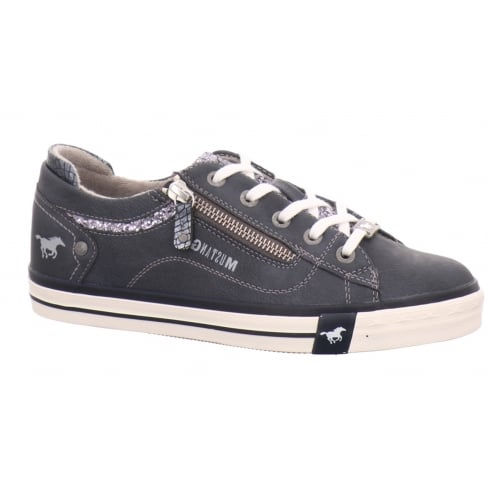 Mustang Navy Glitter Trainers