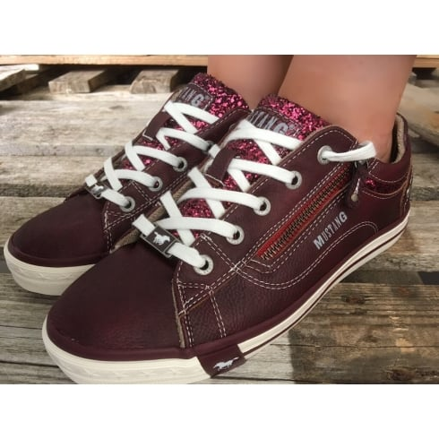 Mustang Womens Bordeaux Glitter Trainers