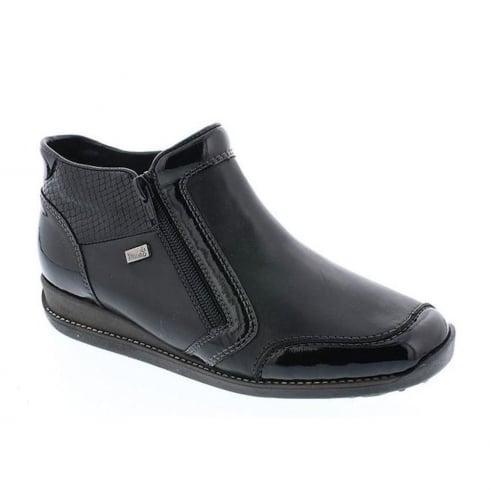 Rieker Womens Black Luxor Flat Ankle Boots