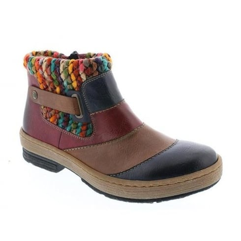 Rieker Womens Unique Colourful Knitted Top Ankle Boots